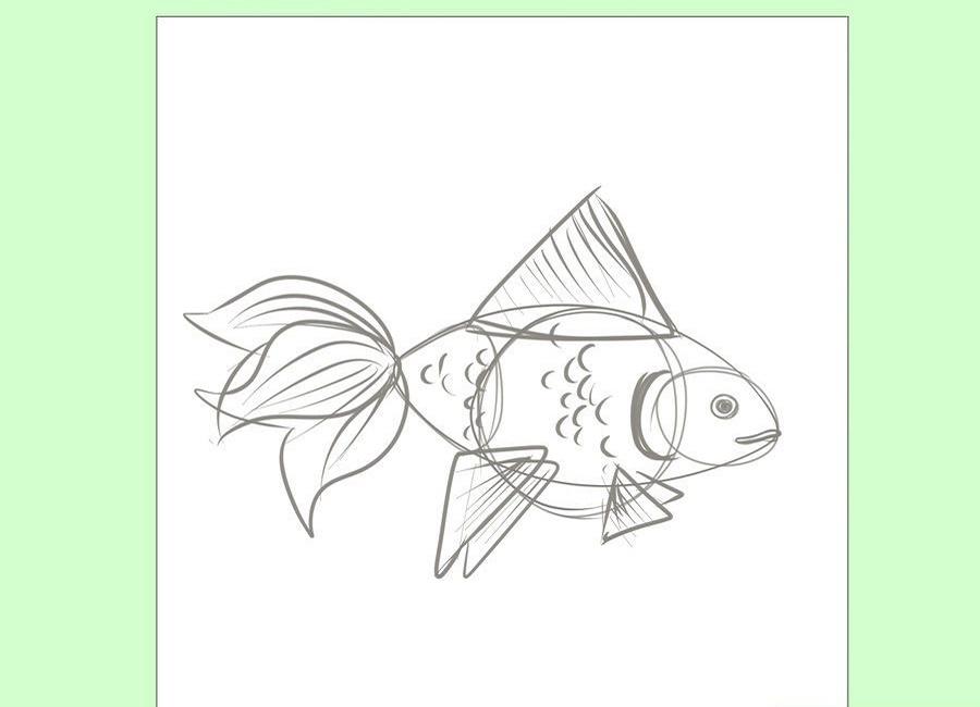 نقاشی بچه گانه ماهی قرمز