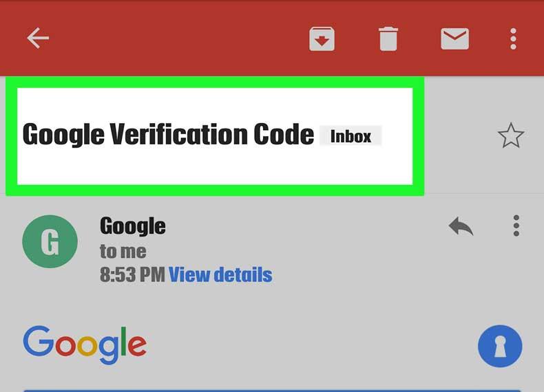 کد ارسال شده گوگل