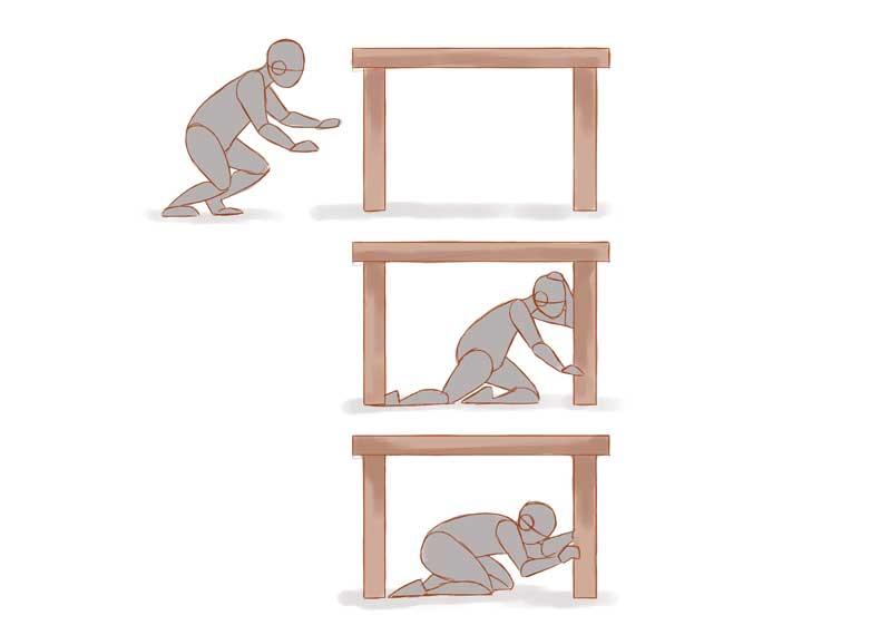 رفتن زیر صندلی در هنگام زلزله