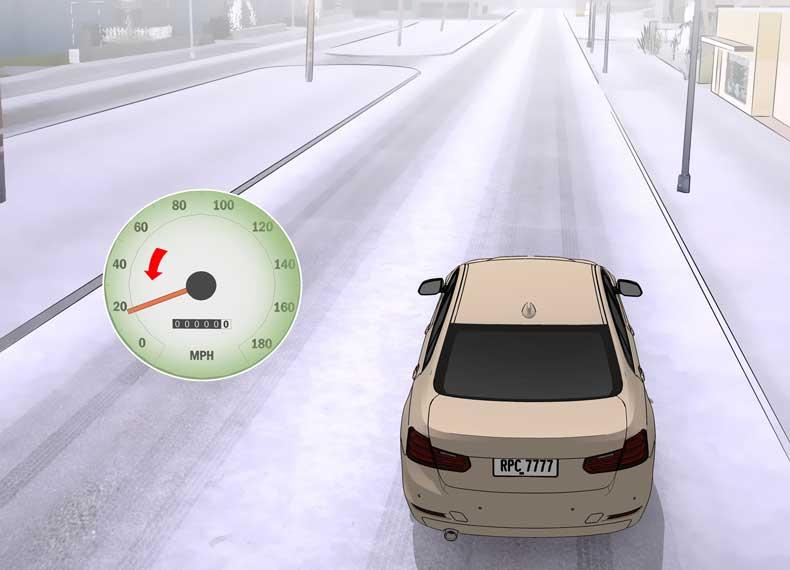 تصادف در جاده برفی