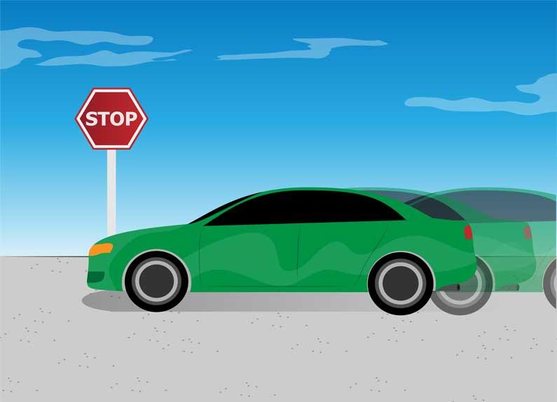 ایستادن ماشین بدون ترمز